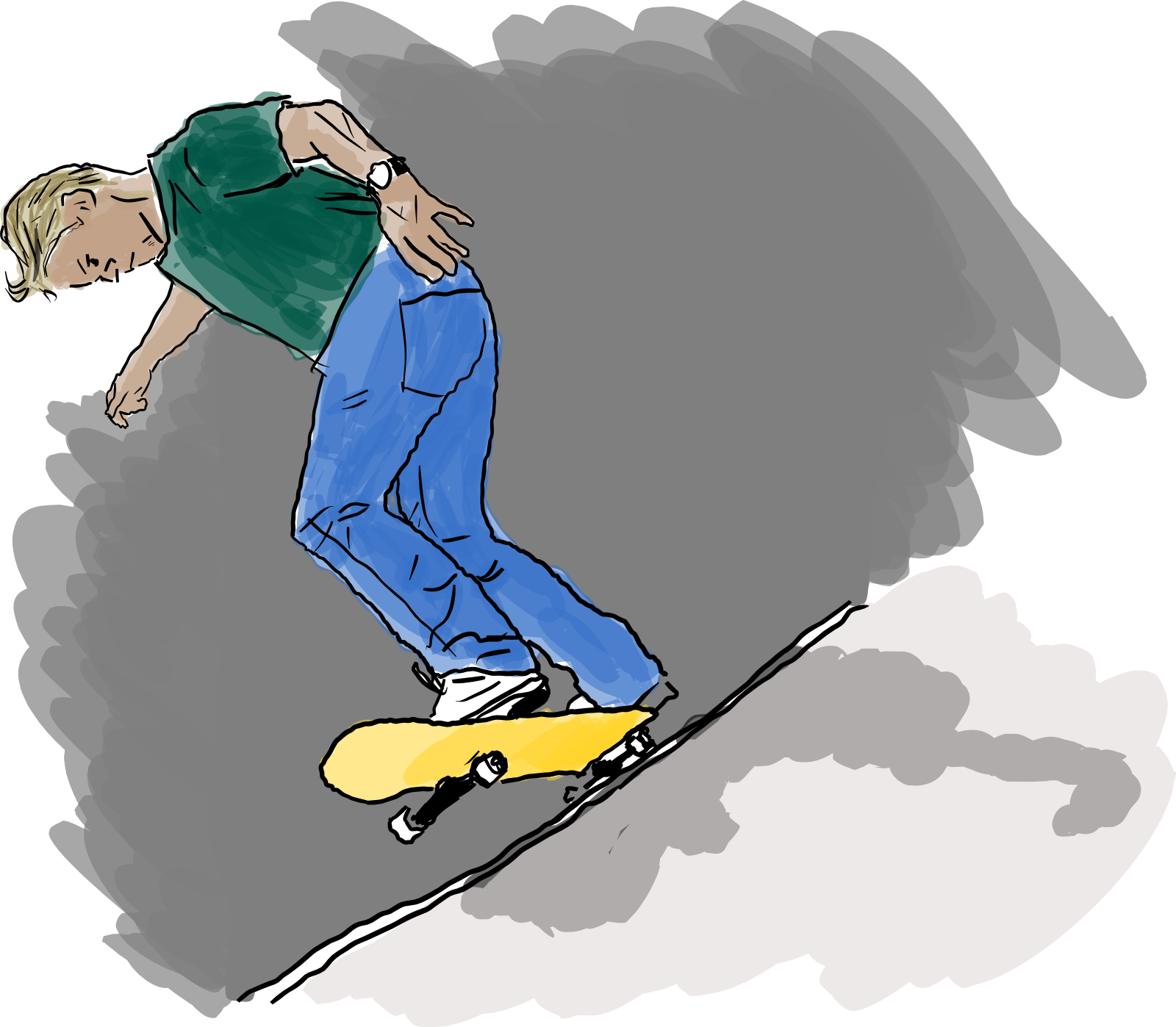 Drawing of a skate boarder