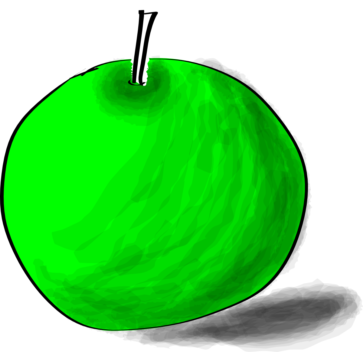 Drawing of a green apple